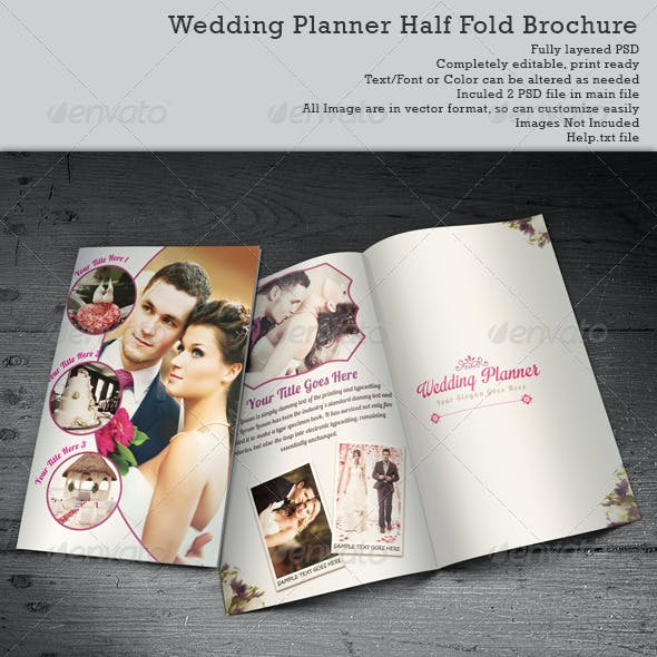 Wedding Planner Half-Fold Brochure Templates