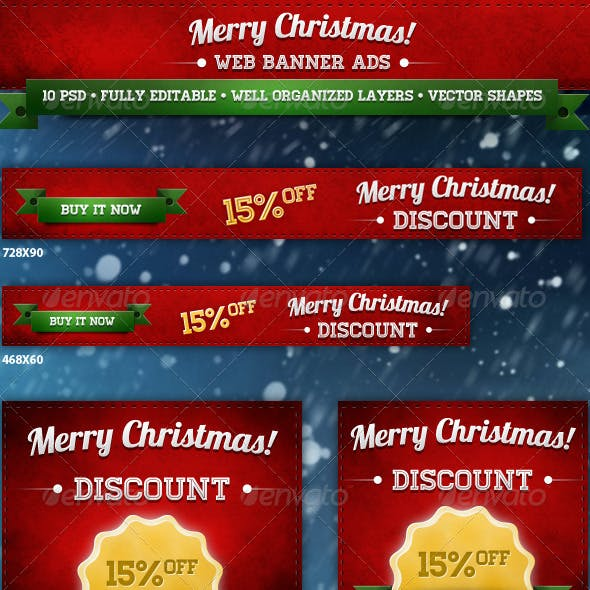 Merry Christmas Web Banner Ads