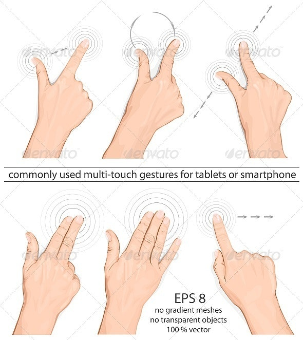 Vector Set of Commonly Used Multi-touch Gestures - Communications Technology