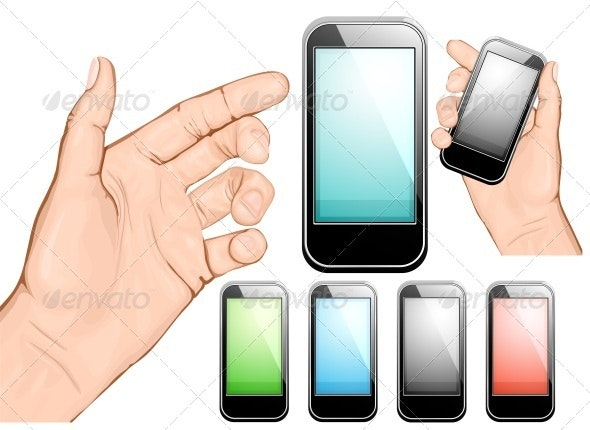 Hand Holding Mobile Phone - Communications Technology