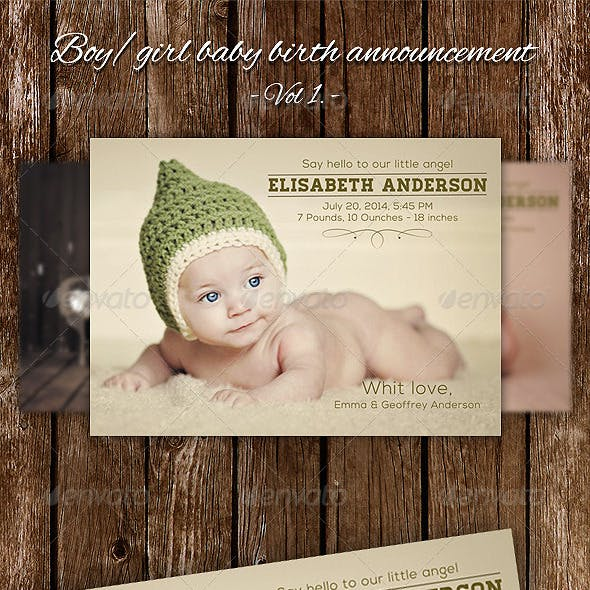 Boy / Girl Baby Birth Announcement Card