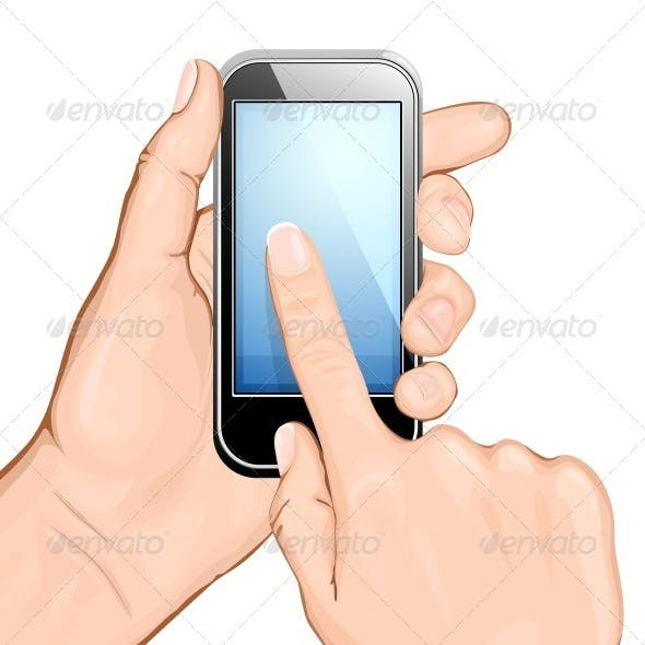 Hand Holding Cellular Phone and Touching Screen