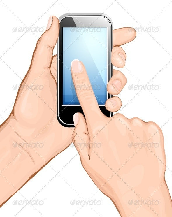 Hand Holding Cellular Phone and Touching Screen - Communications Technology