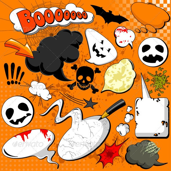 Halloween Comic speech bubbles - Halloween Seasons/Holidays