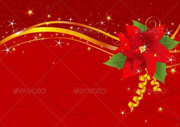 Christmas poinsettia background - Christmas Seasons/Holidays