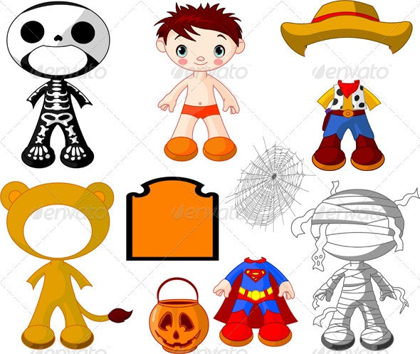 Boy with costumes  for Halloween Party - Halloween Seasons/Holidays