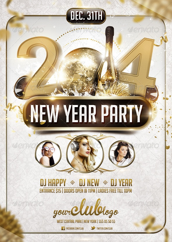 New Year Party Flyer - Flyers Print Templates