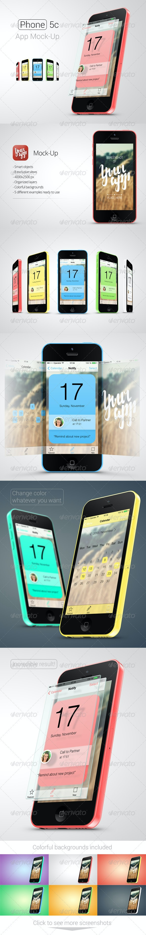 Phone 5c App Mock-Up - Mobile Displays