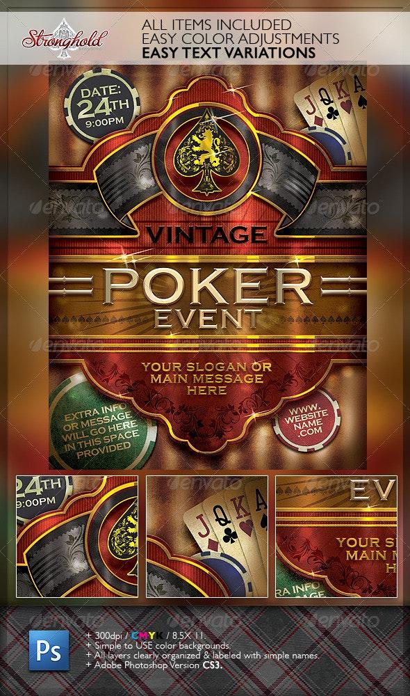 Vintage Poker Cigar Flyer Template - Events Flyers