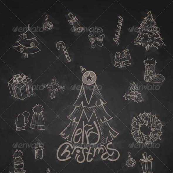 Hand Drawn Christmas Set.
