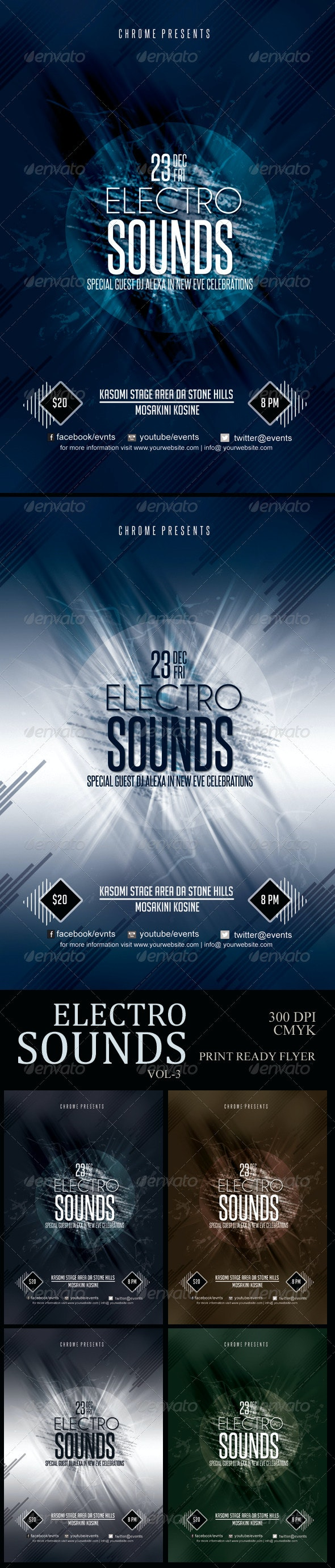Electro Sounds Futuristic Flyer 3 - Clubs & Parties Events