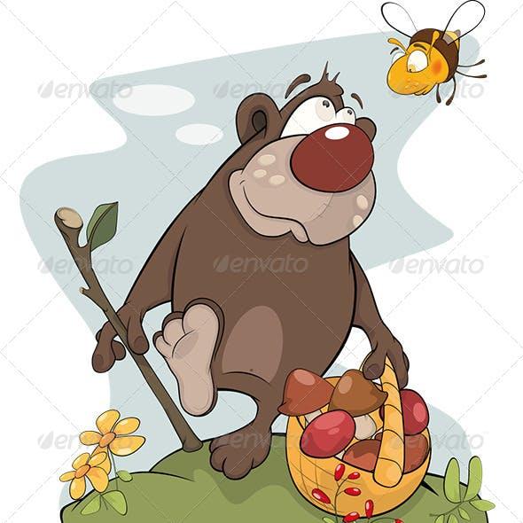 Bear and Bee. Cartoon