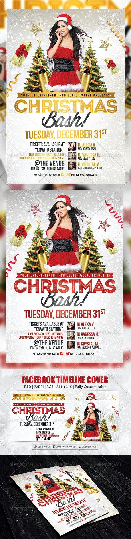 Christmas Bash v3   Flyer + FB Cover - Holidays Events