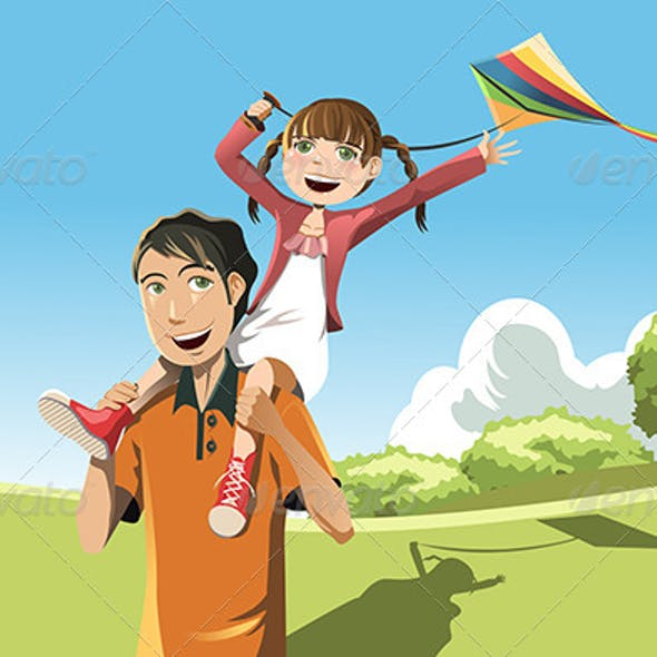 Father Daughter Playing Kite