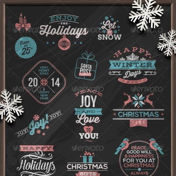 Christmas Holidays Signs, Emblems and Greetings