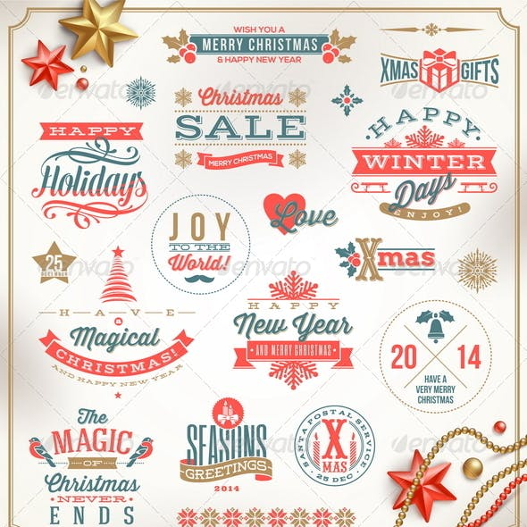 Set of Christmas Signs Emblems and Greetings