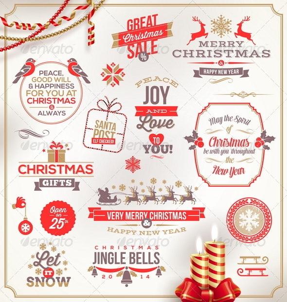 Set of Christmas Signs Emblems and Greetings - Christmas Seasons/Holidays