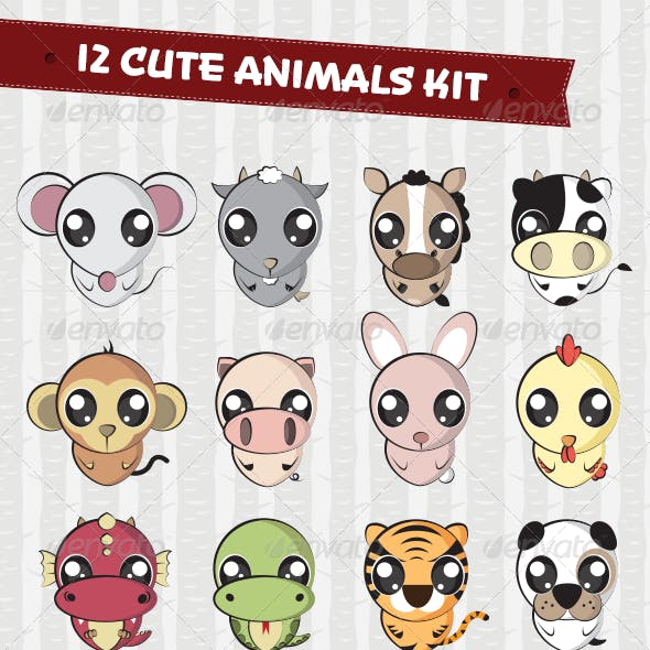 12 Cute Animals Set