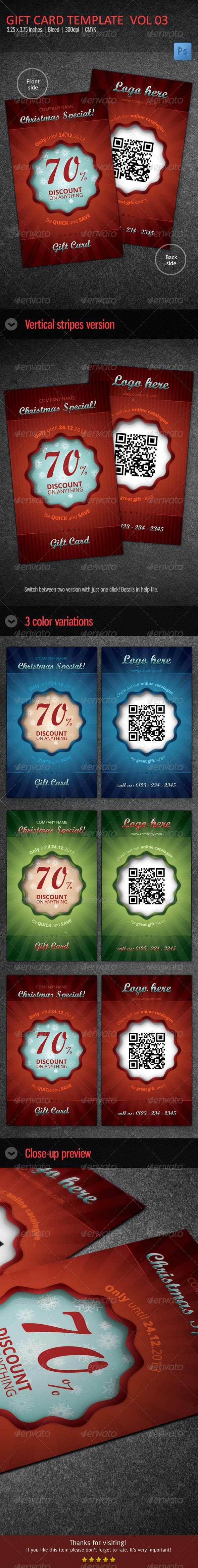 Christmas Gift Card / Voucher vol 03  - Cards & Invites Print Templates