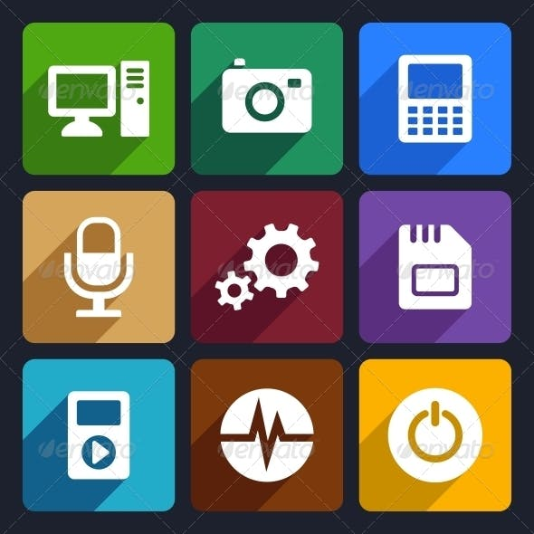 Multimedia Flat Icons Set 9