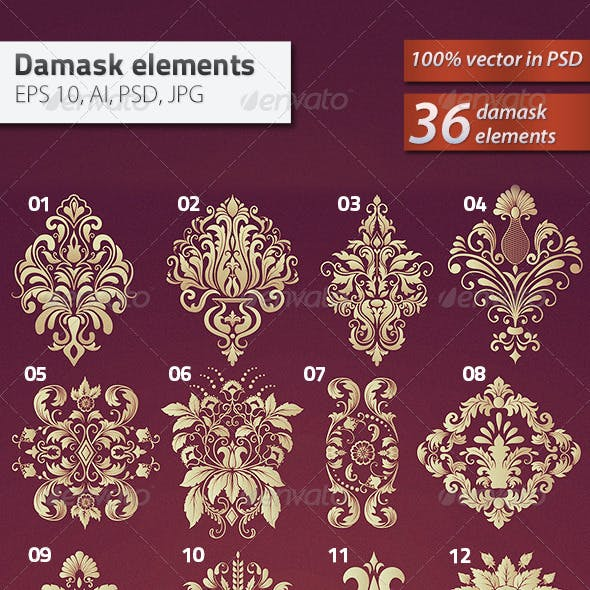 36 Damask Ornamental Elements