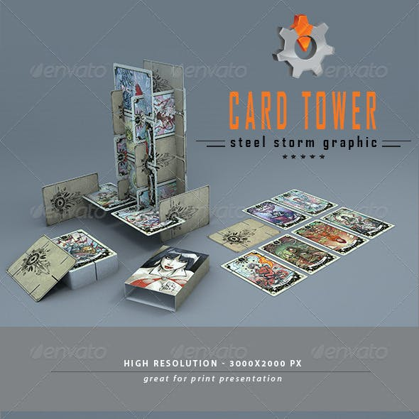 3D Card Tower Mock-up