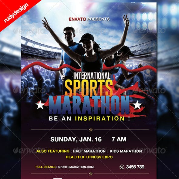 Sports Marathon Run Event Flyer