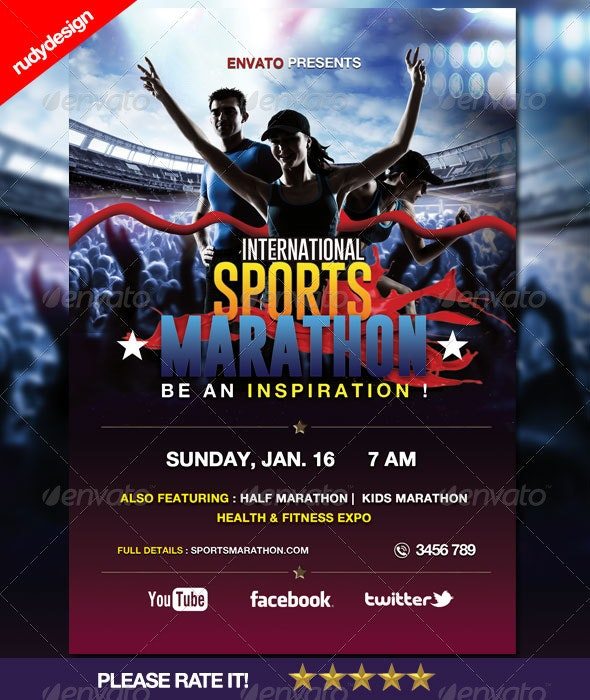 Sports Marathon Run Event Flyer - Sports Events