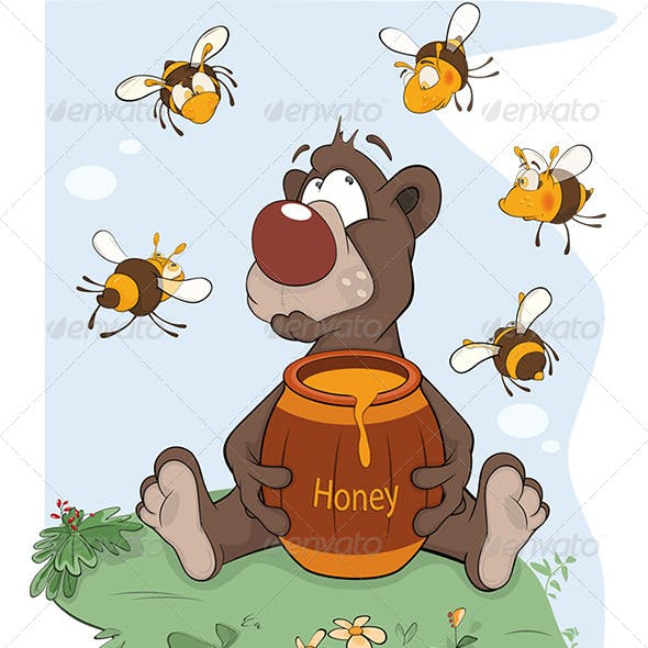 Bear and a Wooden Keg with Honey Cartoon