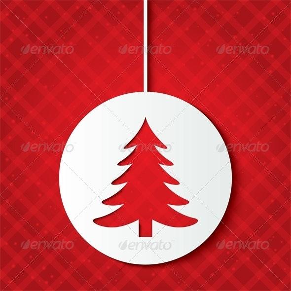 Christmas Ball with Christmas Tree. Cut the Paper. - Christmas Seasons/Holidays