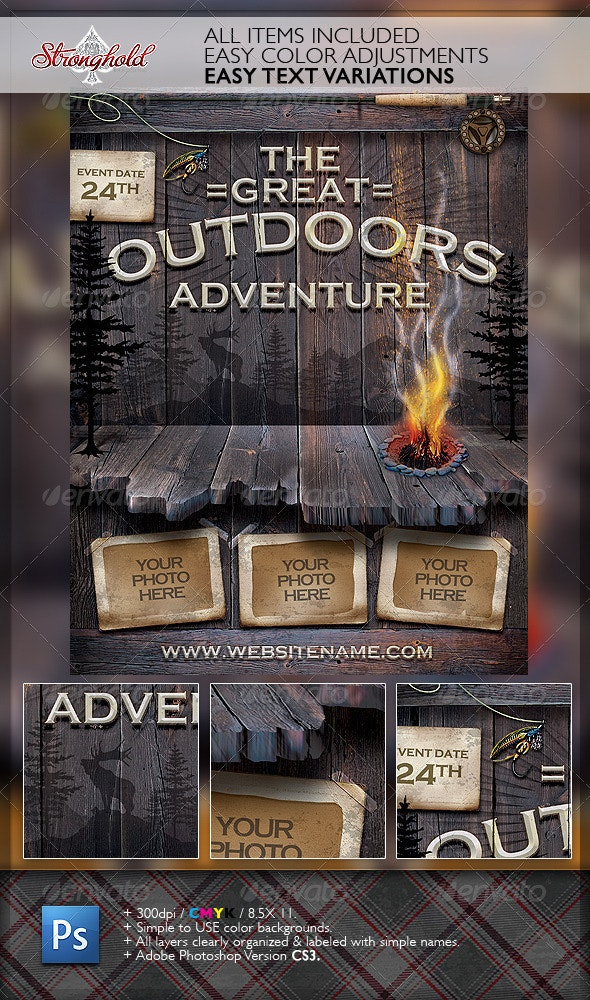 Vintage Outdoor Camping Adventure Flyer - Flyers Print Templates