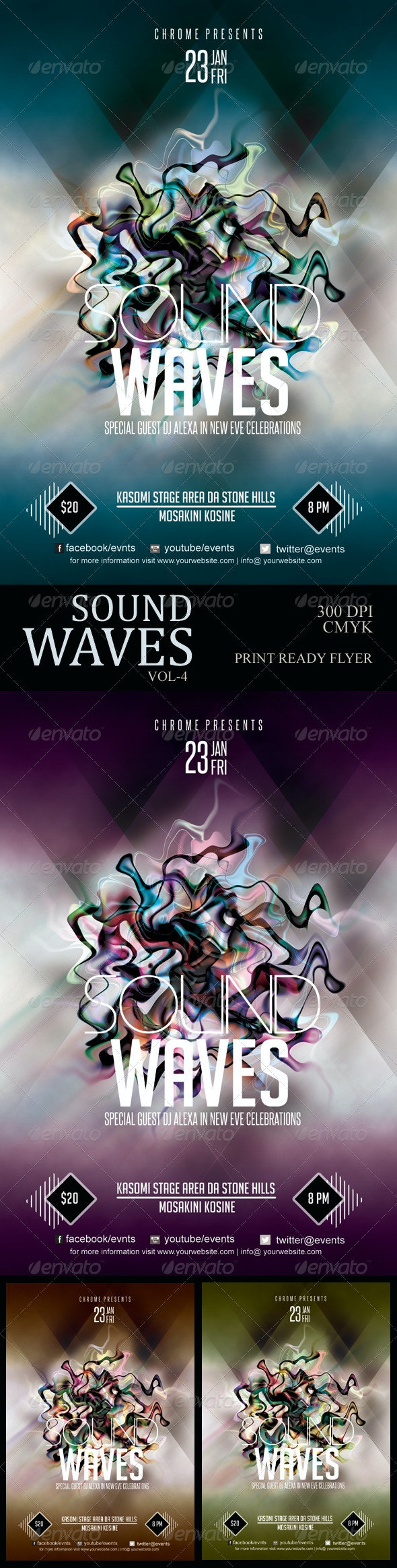 Sound Waves Flyer 5 - Clubs & Parties Events