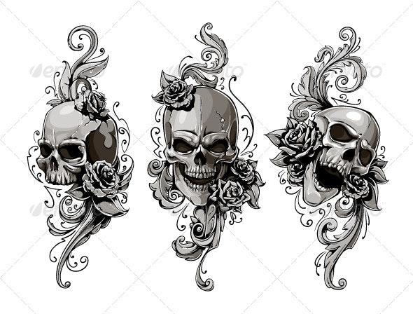 Skulls with Floral Patterns - Vectors