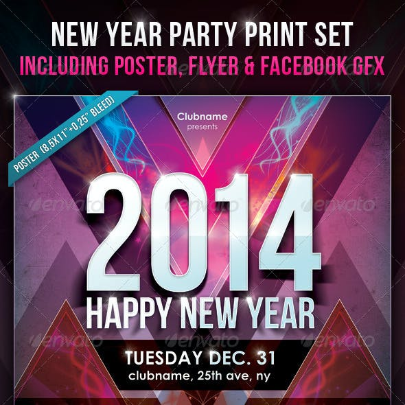 New Year Party Print Set