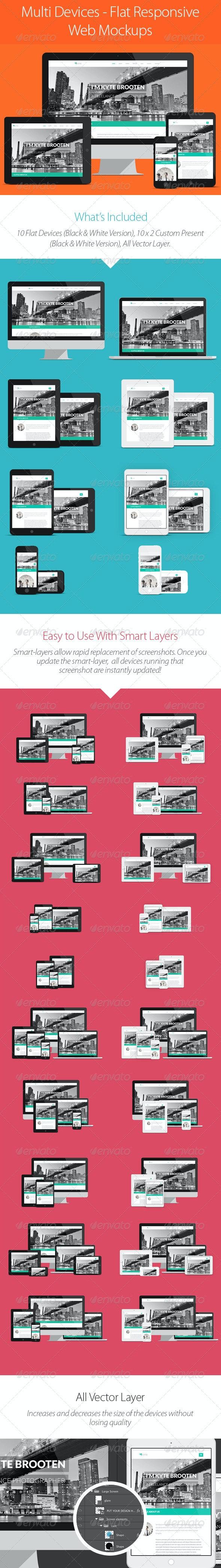 Multi Devices - Flat Responsive Web Mockups - Product Mock-Ups Graphics