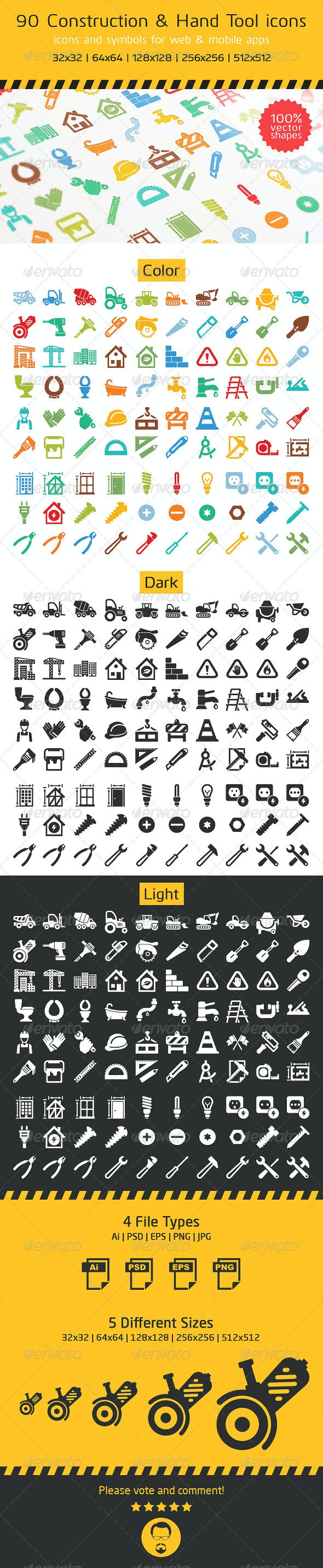 90 Construction and Hand Tool Icons - Software Icons