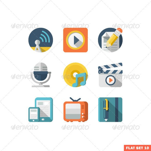 Media and Communication Flat icons