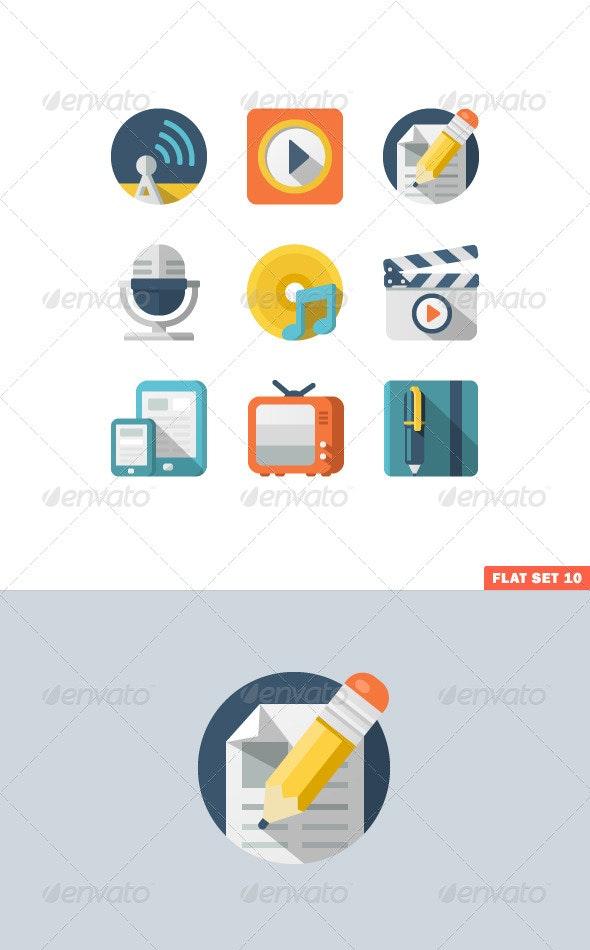 Media and Communication Flat icons  - Media Icons