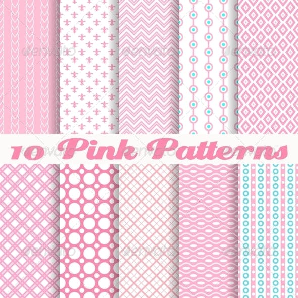 Different Pink Vector Seamless Patterns