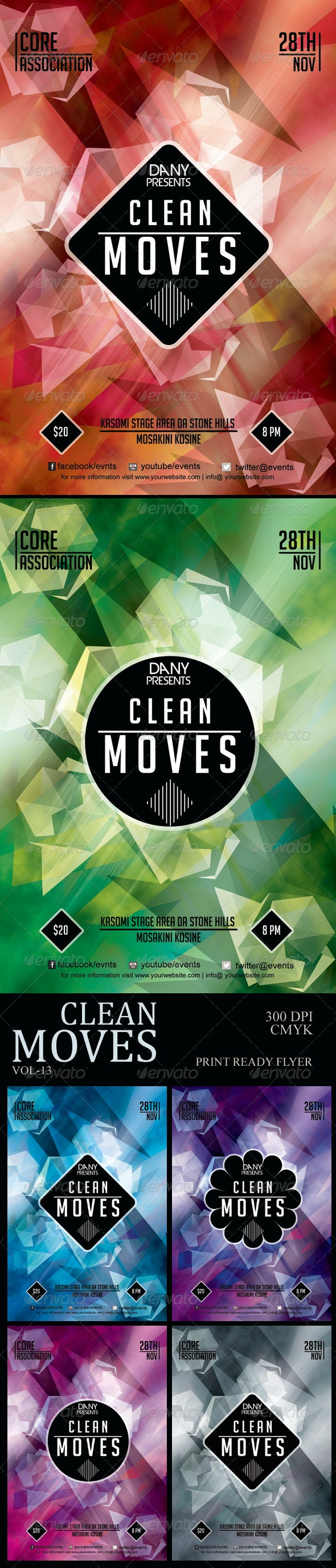 Clean Moves 13 Polygon Flyer - Clubs & Parties Events
