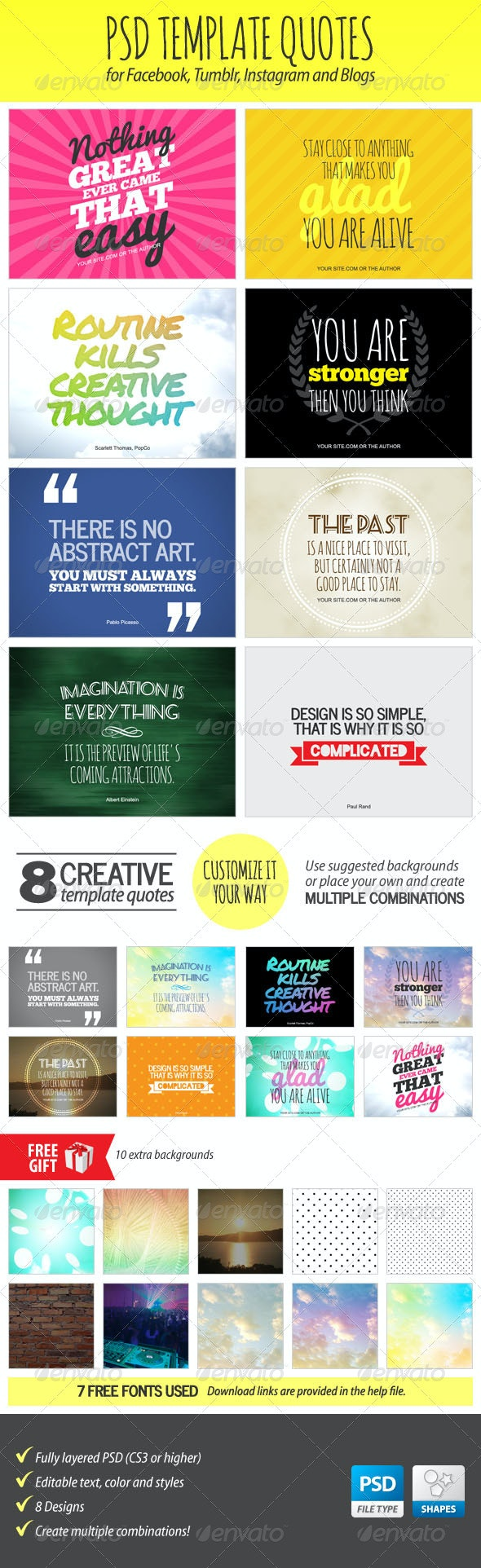 PSD Template Quotes - Miscellaneous Social Media