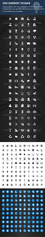 100 Energy Icons - Technology Icons
