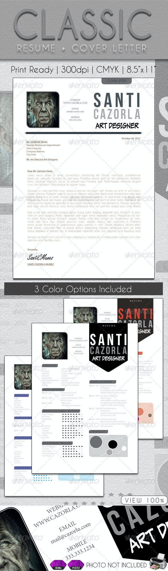 Classic Resume + Cover Letter - Resumes Stationery