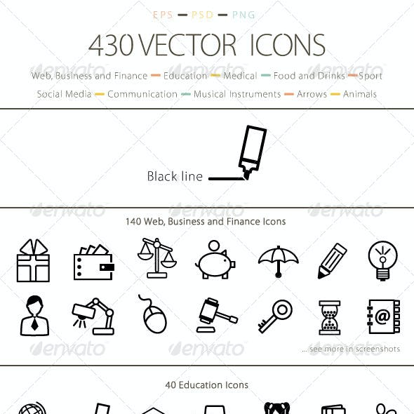 Set of 430 Vector Icons - Black Line