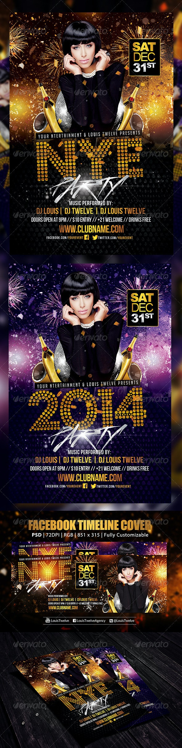 NYE Party 3 | Flyer + FB Cover - Holidays Events