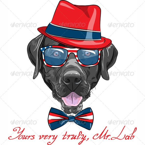 Vector Hipster Dog Labrador Retriever