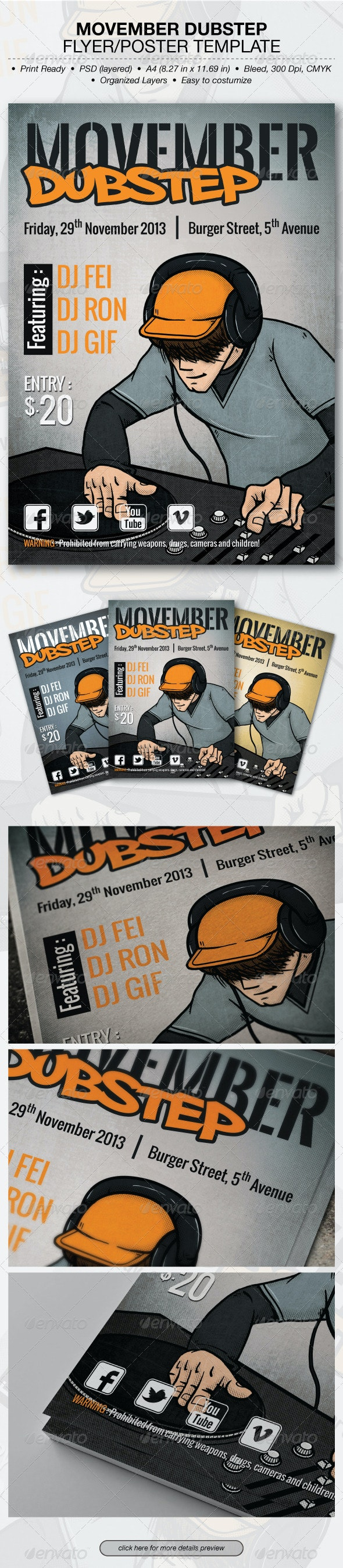 Movember Dubstep Flyer/Poster Template - Clubs & Parties Events
