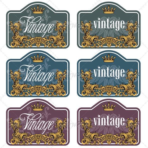 Vintage Wine Labels Set - Decorative Vectors