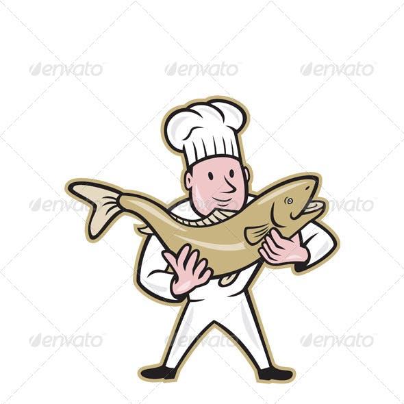 Chef Cook Handling Salmon Fish Standing