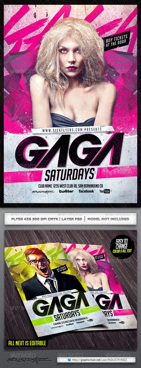 Gaga Flyer Template - Clubs & Parties Events